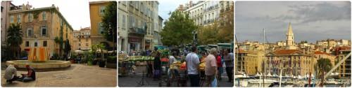 Marseille: lavori in corso, mercato, porto.