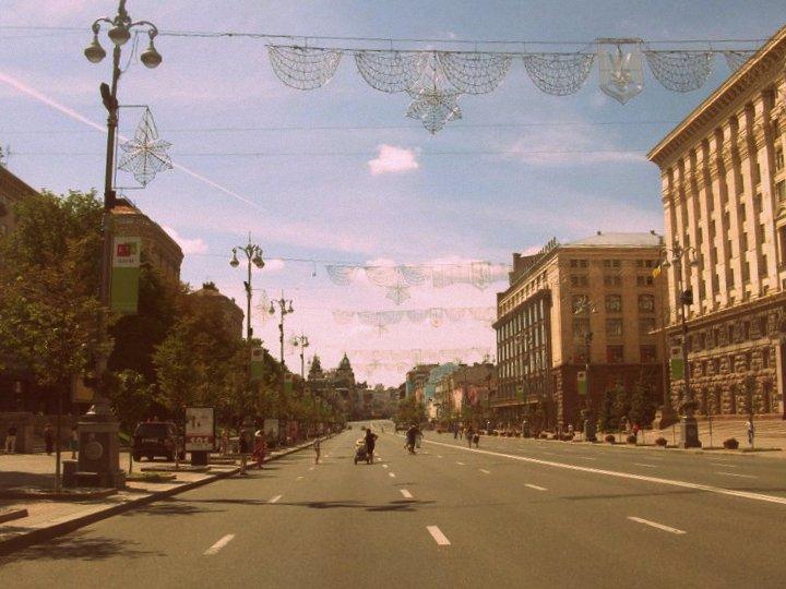 Il viale Khreschatyk, arteria del centro di Kiev.