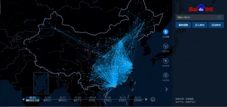 Una rappresentazione grafica del movimento di viaggiatori durante il Chunyun (via Baidu).