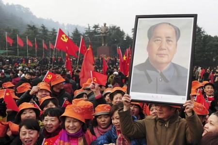 Momento di una commemorazione pubblica di Mao Zedong a Shaoshan.