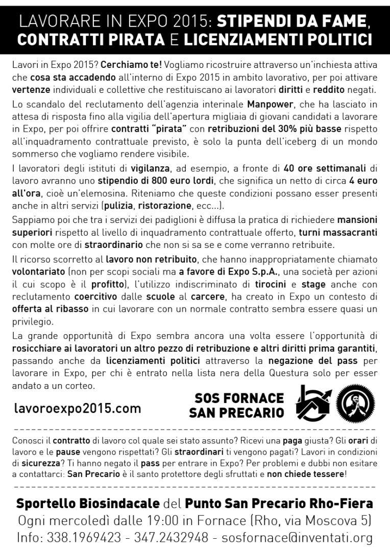 Il volantino dell'organizzazione San Precario, che offre assistenza ai lavoratori precari di ogni tipo, anche agli assunti di Expo