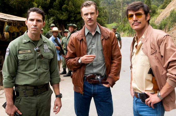 "TV STILL -- DO NOT PURGE -- (L to R) MAURICE COMPTE, BOYD HOLBROOK and PEDRO PASCAL star in NARCOS. Season 1 Episode 3. Netflix. NARCOS S01E03 ""The Men of Always"""