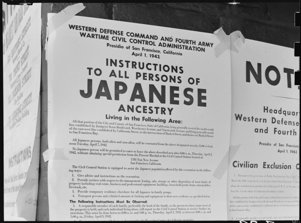 Original WRA caption: San Francisco, California. Exclusion Order posted at First and Front Streets directing removal of persons of Japanese ancestry from the first San Francisco section to be effected by the evacuation. Source: http://www.densho.org