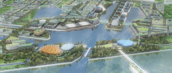 Yale University/Arup. Didascalia: Rendering of Dongtan eco-city