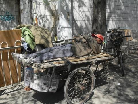 Sleeping man, Beijing 2011