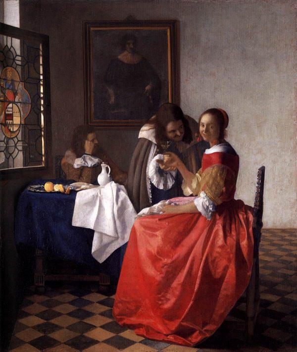 Jan Vermeer, Due gentiluomini e una fanciulla con bicchiere di vino (1659-1660 ca.)