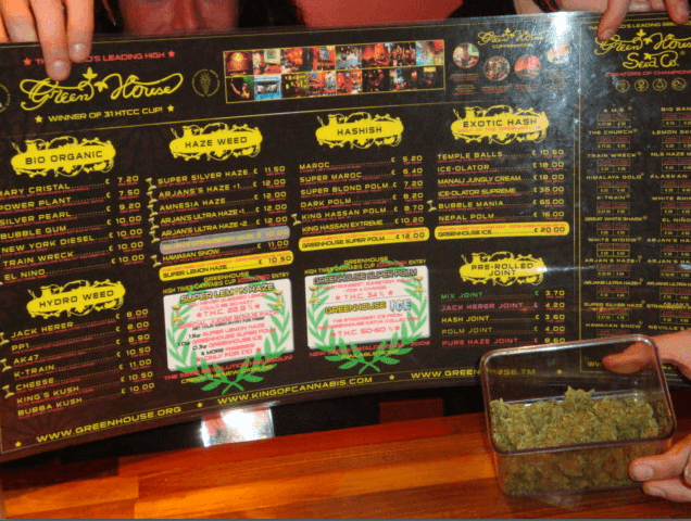 Coffee-shop menu with the several hash/weeds sold