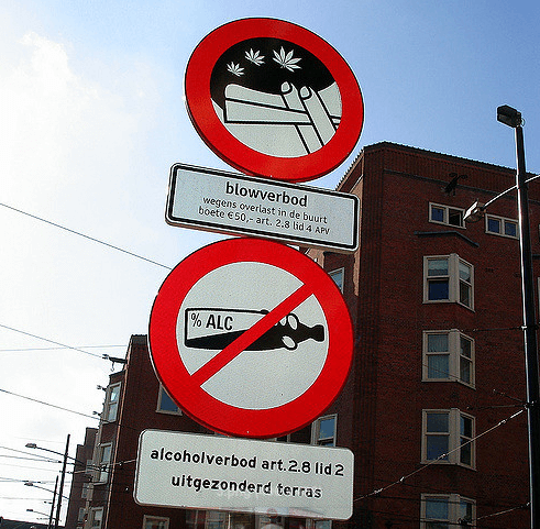 Signs showing urban areas where smoking weed and drinking alcohol is totally forbidden