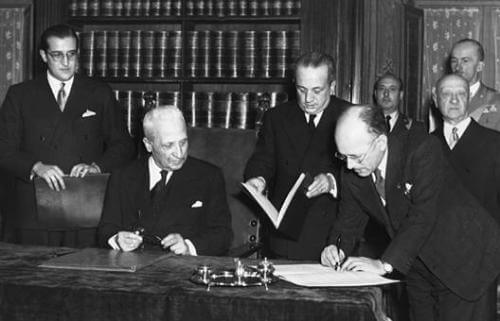 Umberto Terracini signs the Italian Constitution, Rome, 27 December 1947 - Source: Wikipedia