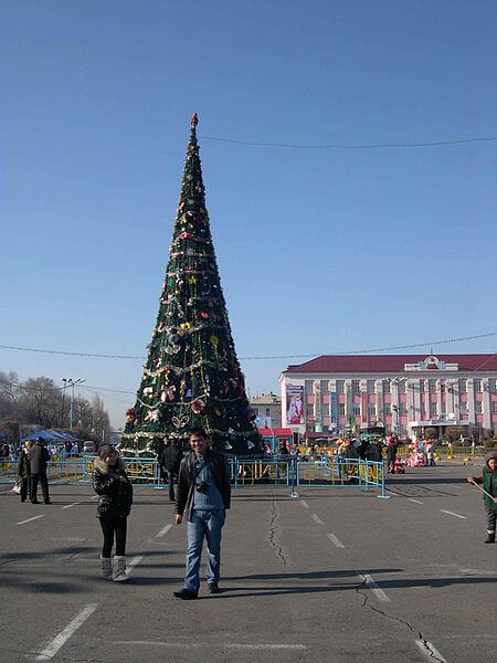 New Year's tree in Taraz, Kazakhstan
